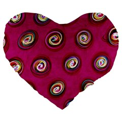 Digitally Painted Abstract Polka Dot Swirls On A Pink Background Large 19  Premium Heart Shape Cushions