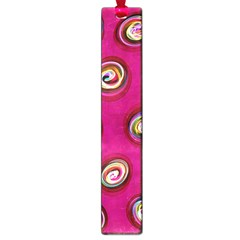 Digitally Painted Abstract Polka Dot Swirls On A Pink Background Large Book Marks