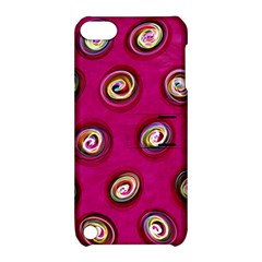 Digitally Painted Abstract Polka Dot Swirls On A Pink Background Apple iPod Touch 5 Hardshell Case with Stand