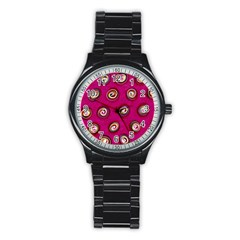 Digitally Painted Abstract Polka Dot Swirls On A Pink Background Stainless Steel Round Watch