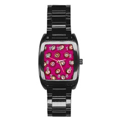 Digitally Painted Abstract Polka Dot Swirls On A Pink Background Stainless Steel Barrel Watch