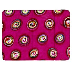 Digitally Painted Abstract Polka Dot Swirls On A Pink Background Samsung Galaxy Tab 7  P1000 Flip Case
