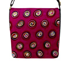 Digitally Painted Abstract Polka Dot Swirls On A Pink Background Flap Messenger Bag (l)