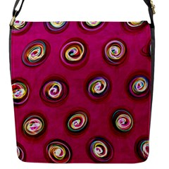 Digitally Painted Abstract Polka Dot Swirls On A Pink Background Flap Messenger Bag (s)