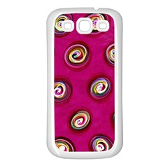 Digitally Painted Abstract Polka Dot Swirls On A Pink Background Samsung Galaxy S3 Back Case (white)