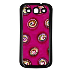Digitally Painted Abstract Polka Dot Swirls On A Pink Background Samsung Galaxy S3 Back Case (black)