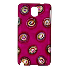 Digitally Painted Abstract Polka Dot Swirls On A Pink Background Samsung Galaxy Note 3 N9005 Hardshell Case