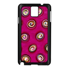 Digitally Painted Abstract Polka Dot Swirls On A Pink Background Samsung Galaxy Note 3 N9005 Case (black)