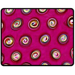 Digitally Painted Abstract Polka Dot Swirls On A Pink Background Double Sided Fleece Blanket (Medium)