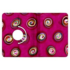 Digitally Painted Abstract Polka Dot Swirls On A Pink Background Kindle Fire HDX Flip 360 Case