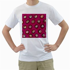 Digitally Painted Abstract Polka Dot Swirls On A Pink Background Men s T Shirt (white)