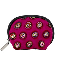 Digitally Painted Abstract Polka Dot Swirls On A Pink Background Accessory Pouches (Small)