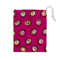Digitally Painted Abstract Polka Dot Swirls On A Pink Background Drawstring Pouches (Large)