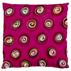 Digitally Painted Abstract Polka Dot Swirls On A Pink Background Large Flano Cushion Case (two Sides)