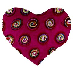 Digitally Painted Abstract Polka Dot Swirls On A Pink Background Large 19  Premium Flano Heart Shape Cushions