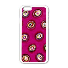 Digitally Painted Abstract Polka Dot Swirls On A Pink Background Apple iPhone 6/6S White Enamel Case
