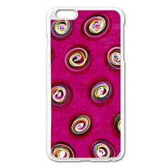Digitally Painted Abstract Polka Dot Swirls On A Pink Background Apple Iphone 6 Plus/6s Plus Enamel White Case