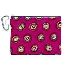 Digitally Painted Abstract Polka Dot Swirls On A Pink Background Canvas Cosmetic Bag (XL)