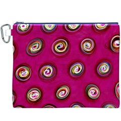 Digitally Painted Abstract Polka Dot Swirls On A Pink Background Canvas Cosmetic Bag (XXXL)