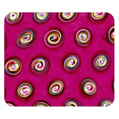 Digitally Painted Abstract Polka Dot Swirls On A Pink Background Double Sided Flano Blanket (Small)