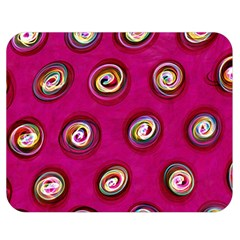 Digitally Painted Abstract Polka Dot Swirls On A Pink Background Double Sided Flano Blanket (medium)