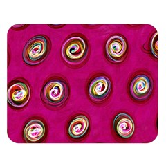 Digitally Painted Abstract Polka Dot Swirls On A Pink Background Double Sided Flano Blanket (large)