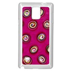 Digitally Painted Abstract Polka Dot Swirls On A Pink Background Samsung Galaxy Note 4 Case (White)