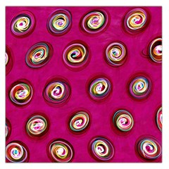 Digitally Painted Abstract Polka Dot Swirls On A Pink Background Large Satin Scarf (Square)