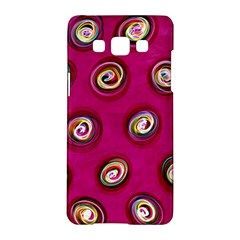 Digitally Painted Abstract Polka Dot Swirls On A Pink Background Samsung Galaxy A5 Hardshell Case