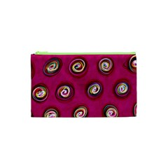 Digitally Painted Abstract Polka Dot Swirls On A Pink Background Cosmetic Bag (xs)