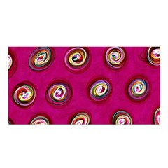 Digitally Painted Abstract Polka Dot Swirls On A Pink Background Satin Shawl