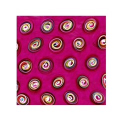 Digitally Painted Abstract Polka Dot Swirls On A Pink Background Small Satin Scarf (square)