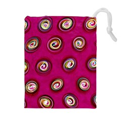 Digitally Painted Abstract Polka Dot Swirls On A Pink Background Drawstring Pouches (Extra Large)