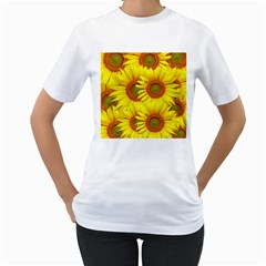 Sunflowers Background Wallpaper Pattern Women s T Shirt (white) (two Sided)