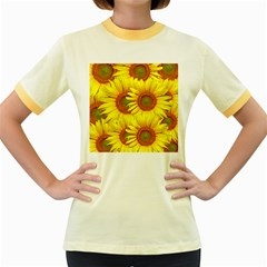 Sunflowers Background Wallpaper Pattern Women s Fitted Ringer T Shirts