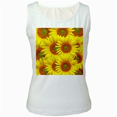 Sunflowers Background Wallpaper Pattern Women s White Tank Top