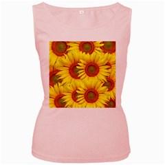 Sunflowers Background Wallpaper Pattern Women s Pink Tank Top