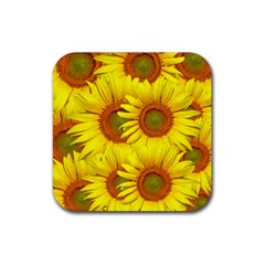 Sunflowers Background Wallpaper Pattern Rubber Square Coaster (4 pack)