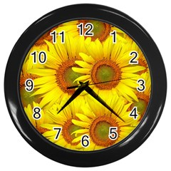 Sunflowers Background Wallpaper Pattern Wall Clocks (black)
