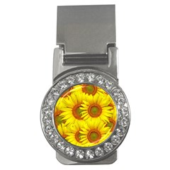 Sunflowers Background Wallpaper Pattern Money Clips (CZ)