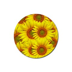 Sunflowers Background Wallpaper Pattern Rubber Coaster (Round)