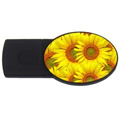 Sunflowers Background Wallpaper Pattern Usb Flash Drive Oval (2 Gb)