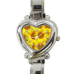 Sunflowers Background Wallpaper Pattern Heart Italian Charm Watch