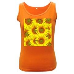 Sunflowers Background Wallpaper Pattern Women s Dark Tank Top
