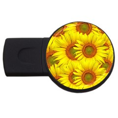 Sunflowers Background Wallpaper Pattern USB Flash Drive Round (4 GB)