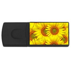 Sunflowers Background Wallpaper Pattern USB Flash Drive Rectangular (4 GB)