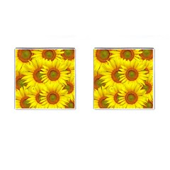 Sunflowers Background Wallpaper Pattern Cufflinks (Square)