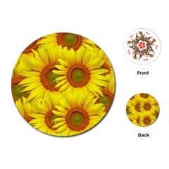 Sunflowers Background Wallpaper Pattern Playing Cards (Round)