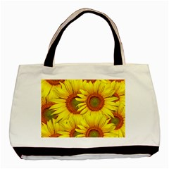 Sunflowers Background Wallpaper Pattern Basic Tote Bag