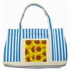 Sunflowers Background Wallpaper Pattern Striped Blue Tote Bag